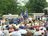 Lt Colonel James Brown addressing  gathering at Little Crossings, July 12 2014.
